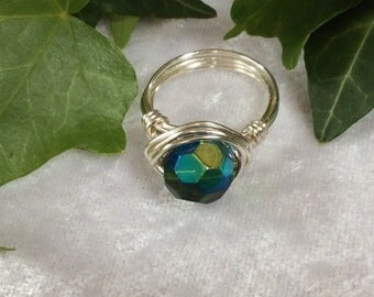 Ring/Boho/Hippy/Silver Wire Wrapped/Faceted Green-Blue