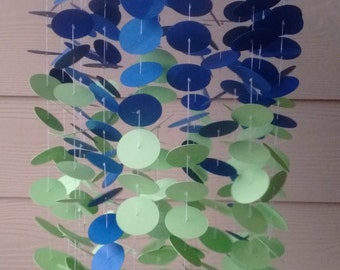 Crib Mobile/Baby Mobile: Navy Blue and Lime Green Circles, baby shower gift, nursery decor, crib decor, gift for baby boy