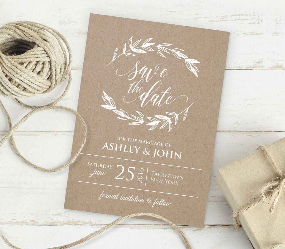 Kraft save the date template instant download editable for Electronic save the date templates