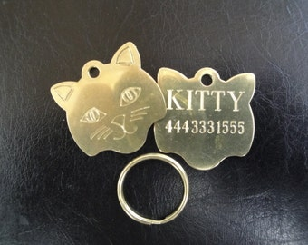 """Solid Brass """"Kitty Tag"""" for Feline pets"""