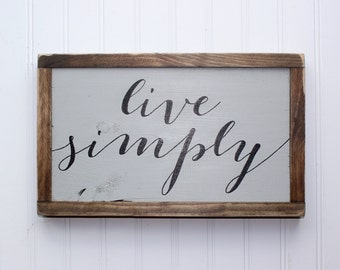 Live Simply Wood Sign, Living Room Decor, Rustic