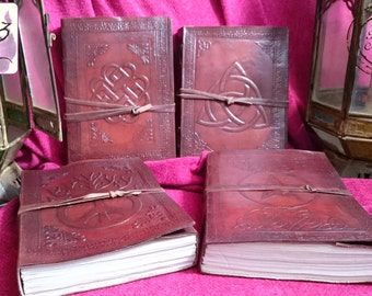 Handmade Leather Journal / Notebook Embossed with Celtic Symbols with Leather Thong to Close