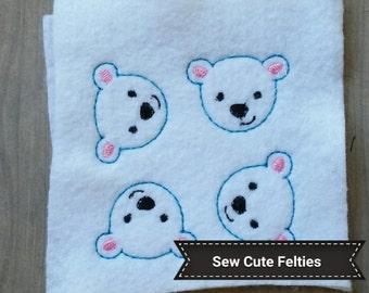 Polar Bear - Sheet of 4 Polar Bear Felties - Polar Bear-  Felties -Embroidered Felt Appliques - Hair Bow Centers