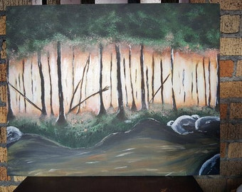 sun coming through trees acrylic painting
