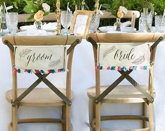 Boho Bride and Groom Chair Signs, Boho Wedding Chair Backers,Boho Wedding  Chair Signs,Wedding Chair Signs