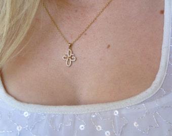 "Gold Filled Studded Fleur de Lis Necklace, 16"".  GN-96"