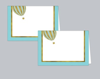 Hot Air Balloon Baby Shower Food Tent Cards, Table Tent Cards, Baby Food Label Cards, Blue and Gold Label Cards, Baby Tent Cards, Boy Shower