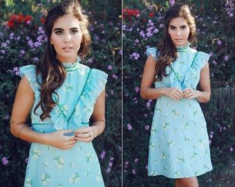 1970s Baby Doll Blue Daisy Print Dress - Small