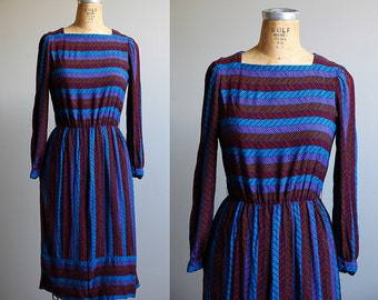 1980s Purple Long Sleeved Zig Zig Secretary Dress