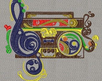 Disco music machine embroidery designs