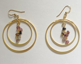 Gold Rotating Hoop Earrings with Tourmaline Chain Wired in the Center