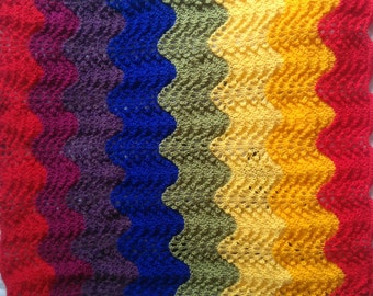 Rainbow baby blanket. Hand knitted with love.
