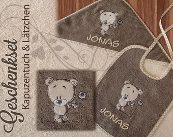Embroidered gift set hooded towel and bibs