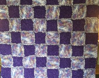 Purple Swirls Rag Quilt
