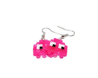 Earrings Pinky Pacman Ghost [Pixel Art Hama Beads]