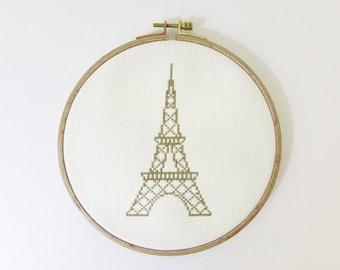 Eiffel Tower Modern cross stitch pattern PDF - Instant dowload