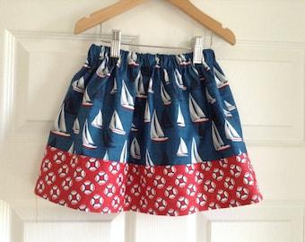 Girls nautical skirt sailboats
