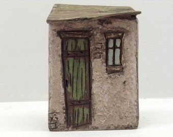 149 little wood house rustic   green roof/door made from repurposed wood, hand crafted.