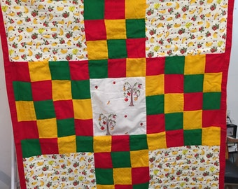 Red Green Yellow Baby blanket, Boho Style, Boy, Girl, crib bedding, Patchwork quilt, Handmade, embroidery Reversible with print BYFR04