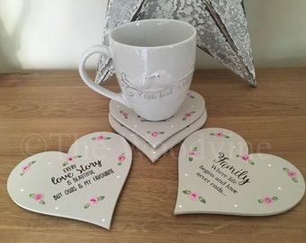 Set of 4 handpainted Ply Heart Cup Coasters with quotes