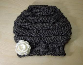 Hat made hand knit, wool, dark grey, flower, white-Roller Model