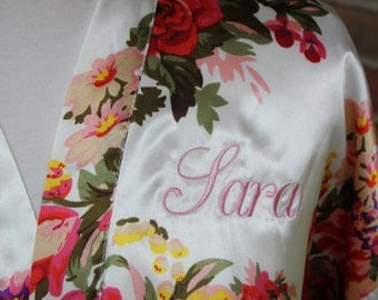 Embroidered/Personalized Floral satin bride or bridesmaid robe