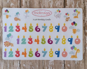 Birthday Party Stickers, Balloon Stickers, Candle Stickers, Number Stickers, Animal Stickers, Planner Stickers. A-55.