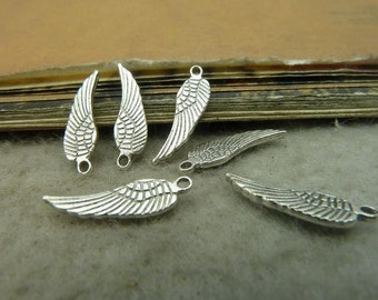 BULK 100 Angel Wings Charms Antique Silver Tone 2 Sided (YT5087)