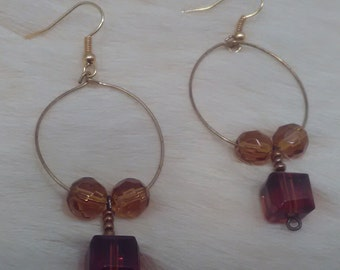 Golden crystal hoop earrings