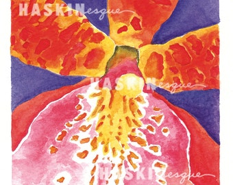 """Orchid Watercolor Painting, Miltassia """"Cairns"""", 4 x 4"""" art on 8 x 10"""" paper  g011"""