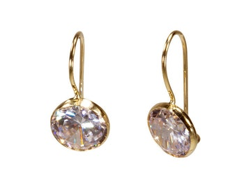 14k Gold Earrings,White Zircon Earrings,Zircon Drop Earrings,Gold Drop Earrings,White Zircon,Gift for Her,Solid Gold Earrings,white earrings