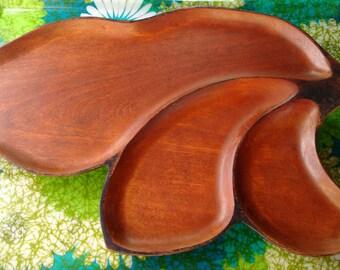 Vintage Carved Wood Platter