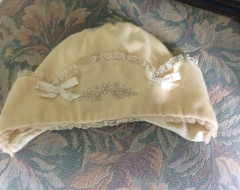 Antique Wool Baby or Large Doll Bonnet, Embroidery, Silk Lining, Excellent Cond.