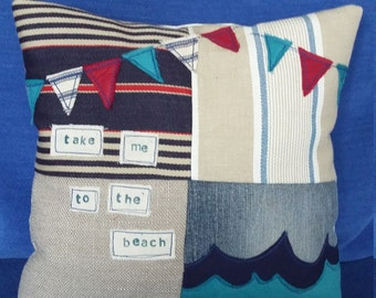 take me to the beach stitch cushion