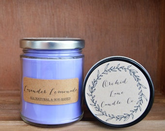 Lavender Lemonade Soy Candle, Scented Soy Candle, 8 oz Jar, 4 oz. Jar, Hand Poured Soy, Soy Candle