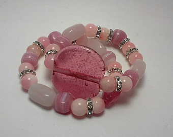 Beaded Pink Bracelet: Pretty in Pink/Rhinestones/stack bracelet/shades of pink/handbeaded