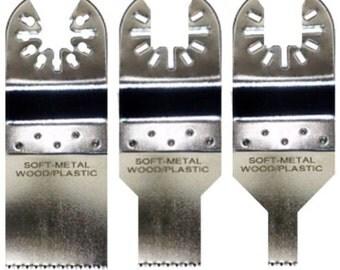qb21; 3pc stainless steel oscillating saw blades fits fein bosch dewalt ridgid