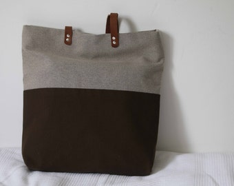 Tote bag in cotton and polyester beige and khaki