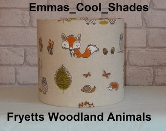New Handmade Lampshade - Fryetts Woodland animals Lampshade Fryetts Fabric - Drum Stag Fox Owl Deer
