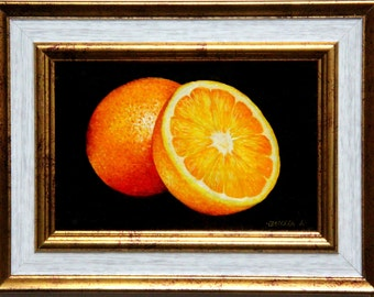 Orange oil painting, original painting, still life