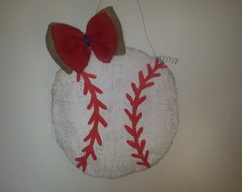 Baseball Hand Painted Burlap Door Hanger