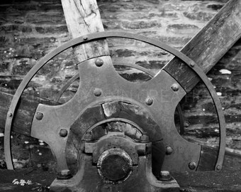 Mill Wheel, Black and White Photography, Industrial Photography, Travel Photography, Scotland, Wall Art, Wall Decor, Water Mill, Home Decor