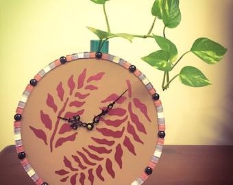 Fern & Mosaic Tiles Wall Clock
