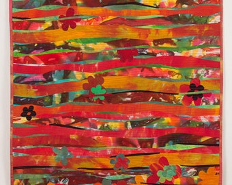 Art quilt,Red fields , wall hanging quilt,  mix  color  , hand dyed quilt, red, orange and green,fused quilt, machine quilted,