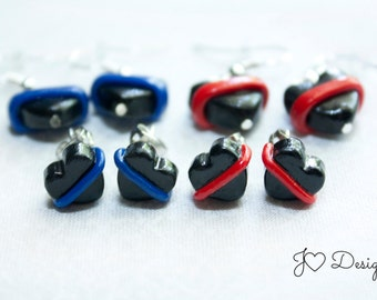 Thin Blue Line, Police Officer Gifts, Police Gifts, Police earrings, Firefighter earrings, Thin Red, Line