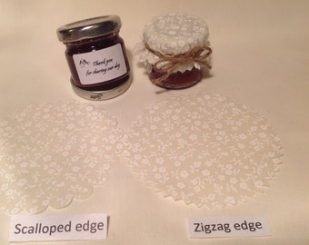 Jam jar covers Wedding X 50 + twine/bands/labels 3 sizes avalible