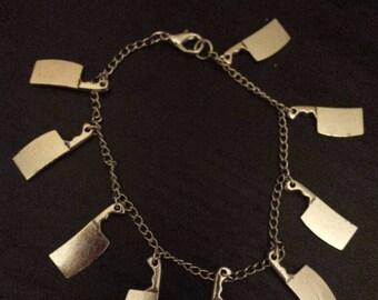 Knife charm bracelet, knife jewelry, femme fatale, deadly charms, deadly jewelry, knife bracelet, cleaver bracelet, cleaver jewelry