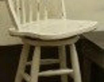 2 Antique White distressed swivel bar stools