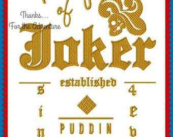 Cosplay Wording Harley Quinn Property of the Joker Digital Embroidery Machine Design File One Hooping 6x10 7.9x14 & Three Hoopings 5x7 6x10