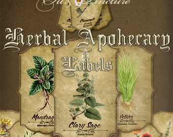 Vintage Herbs Apothecary Labels,Essential Oil-Tinctures,Illustration,Printable Digital Graphics,Hobby crafting,Instant Download